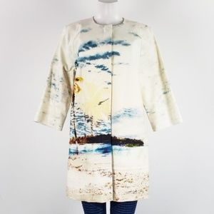 Lord & Taylor White Printed Jacket Size L